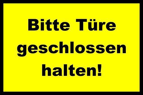 41YsX5TH+pL - Tür / Tor Schild -1575t- Türe geschlossen halten 29,5cm * 20cm * 2mm, mit 4 Tesa-Powerstrips