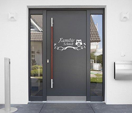 tjapalo® a-pk80 Türschild mit Name Türaufkleber Eingangstüre Namensaufkleber Wandtattoo Eule mit Familienname (B50 x H24 cm)